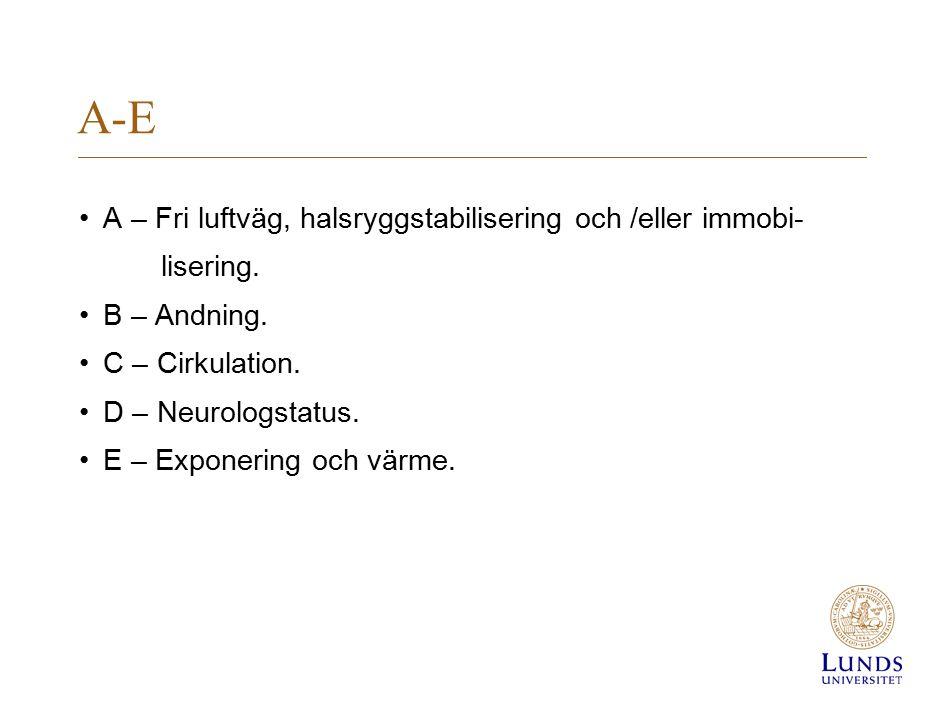 A-E A – Fri luftväg, halsryggstabilisering och /eller immobi- lisering. B – Andning. C – Cirkulation. D – Neurologstatus. E – Exponering och värme.
