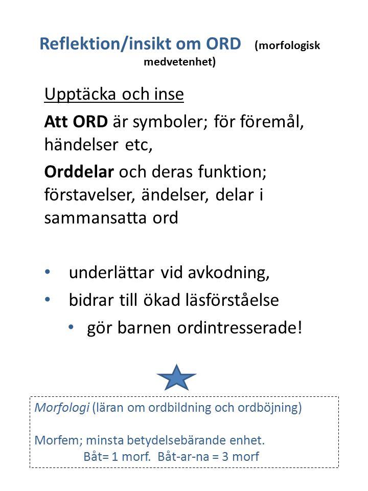 Upptäcka och inse Att ORD är symboler; för föremål, händelser etc, Orddelar och deras funktion; förstavelser, ändelser, delar i sammansatta ord underl