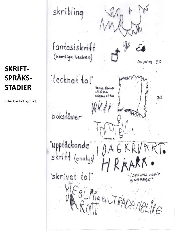 SKRIFT- SPRÅKS- STADIER Efter Bente Hagtveit
