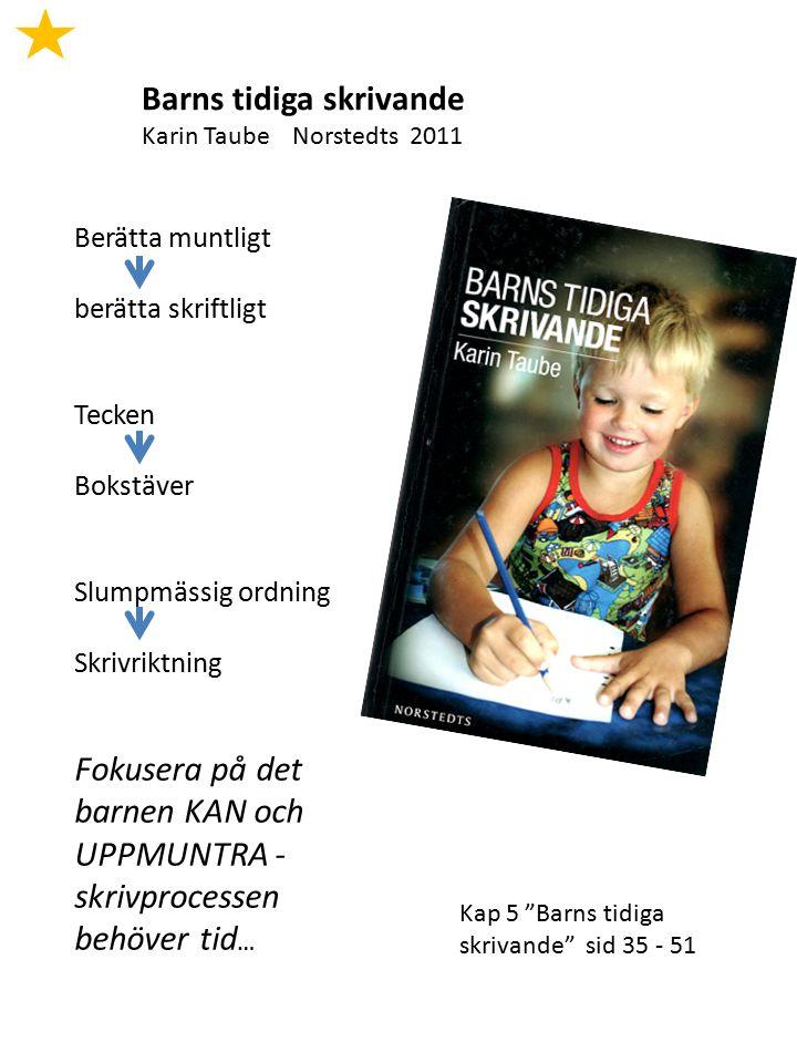 Barns tidiga skrivande Karin Taube Norstedts 2011 Berätta muntligt berätta skriftligt Tecken Bokstäver Slumpmässig ordning Skrivriktning Fokusera på d