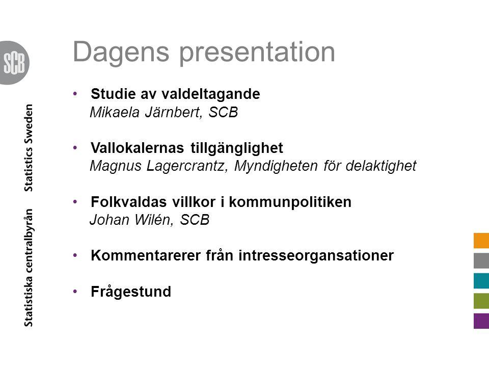 Dagens presentation Studie av valdeltagande Mikaela Järnbert, SCB Vallokalernas tillgänglighet Magnus Lagercrantz, Myndigheten för delaktighet Folkval