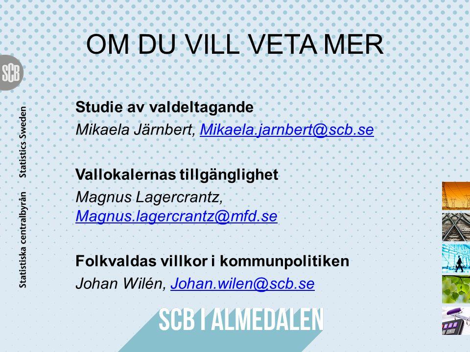 OM DU VILL VETA MER Studie av valdeltagande Mikaela Järnbert, Mikaela.jarnbert@scb.seMikaela.jarnbert@scb.se Vallokalernas tillgänglighet Magnus Lager