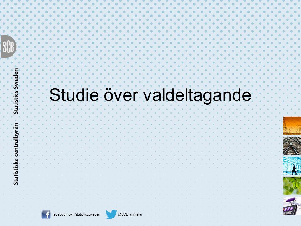 facebook.com/statisticssweden @SCB_nyheter Studie över valdeltagande