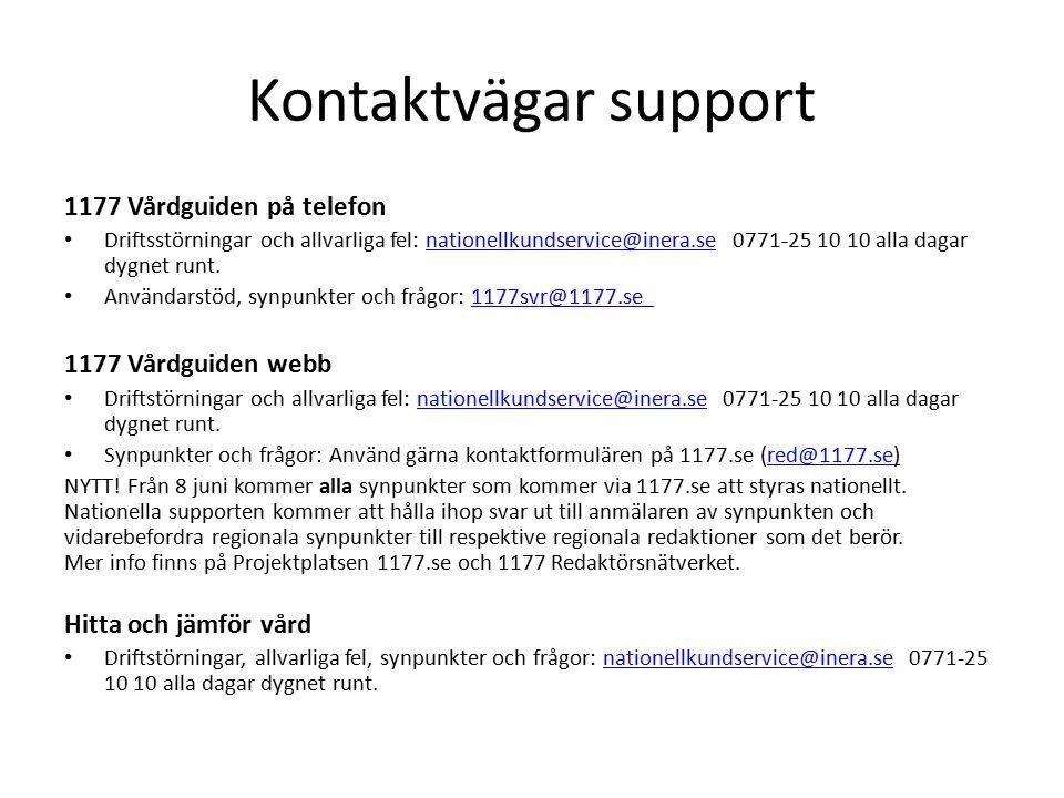 Kontaktvägar support UMO.se Driftstörningar och allvarliga fel: nationellkundservice@inera.se 0771-25 10 10 alla dagar dygnet runtnationellkundservice@inera.se Synpunkter och frågor: info@umo.seinfo@umo.se Mina vårdkontakter Driftstörningar, allvarliga fel, synpunkter och frågor: minavardkontakter@sll.se 08-123 135 25 – Vårdgivarsupport, 08-123 135 00 – Invånarsupport alla dagar kl.