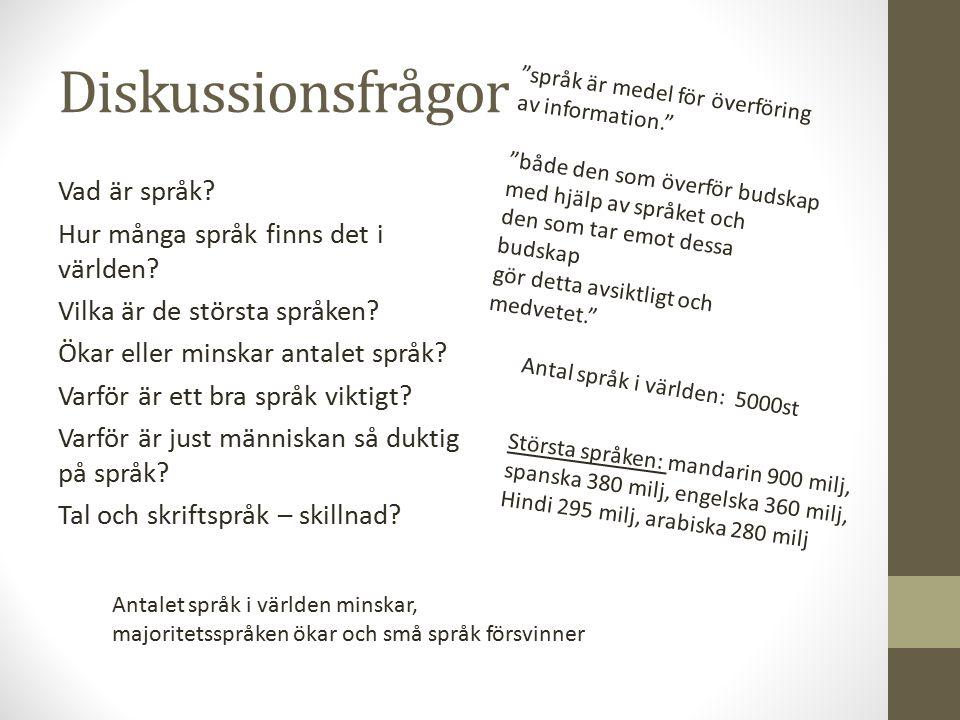 Diskussionsfrågor Vad är språk? Hur många språk finns det i världen? Vilka är de största språken? Ökar eller minskar antalet språk? Varför är ett bra