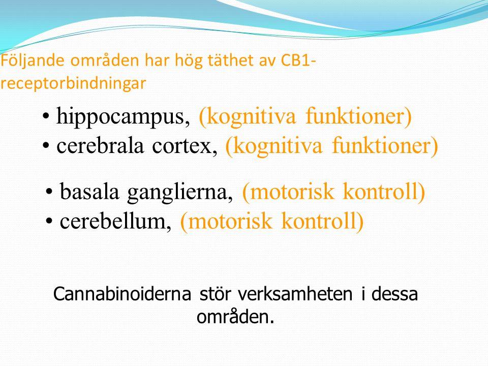 CB1 - finns till stort antal i hjärnan CB2 -ffa i immunsystemet THC binder till cannabisreceptorer ____________________ Maria Ellgren kroppsegna cannabinoider Bromsad aktivitet i nervcellen syntetiska cannabinoider CB1 och CB2 agonister