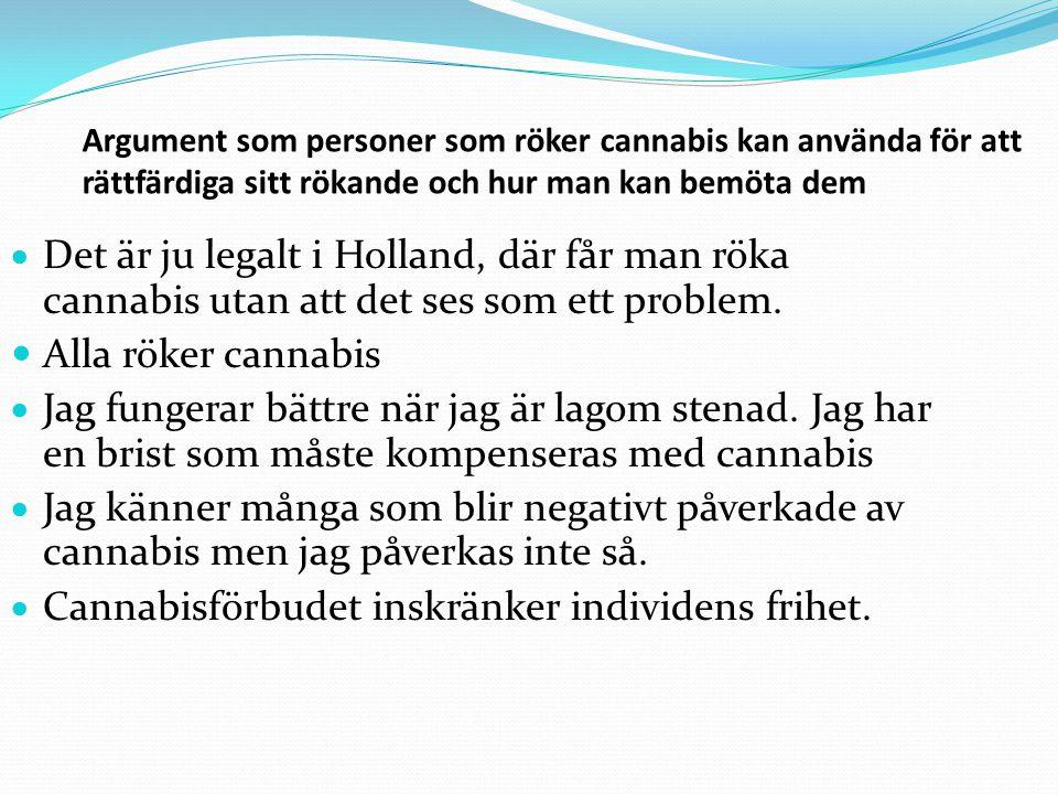 Argument som personer som röker cannabis kan använda för att rättfärdiga sitt rökande och hur man kan bemöta dem  Man dör inte av att röka cannabis.