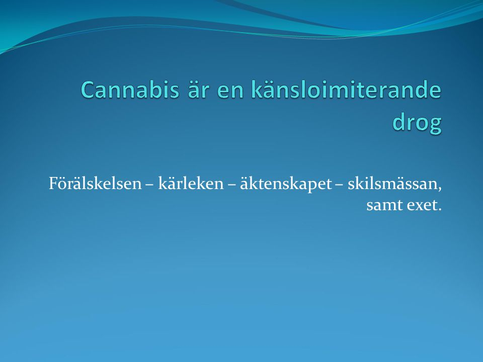 Utveckling Marijuana har genom åren fått en högre halt THC Hasch ligger stabilt Skunk, ett sätt att odla Marijuana som framhäver dofter = marijuanarus kombinerat med lösningsmedelsrus Spice torkade kryddor från Asien = lätt lösningsmedelsrus Från 2004 tillsatser av forskningssubstanser som är syntetiska cannabinoider.