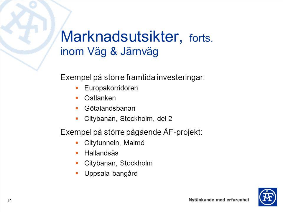 10 Marknadsutsikter, forts. inom Väg & Järnväg Exempel på större framtida investeringar:  Europakorridoren  Ostlänken  Götalandsbanan  Citybanan,