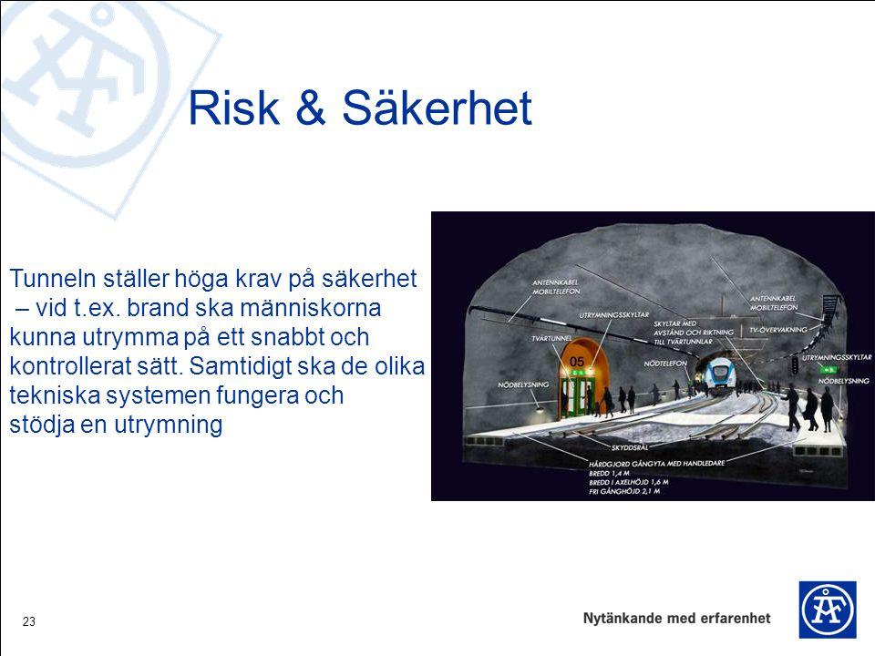 23 Risk & Säkerhet Tunneln ställer höga krav på säkerhet – vid t.ex. brand ska människorna kunna utrymma på ett snabbt och kontrollerat sätt. Samtidig