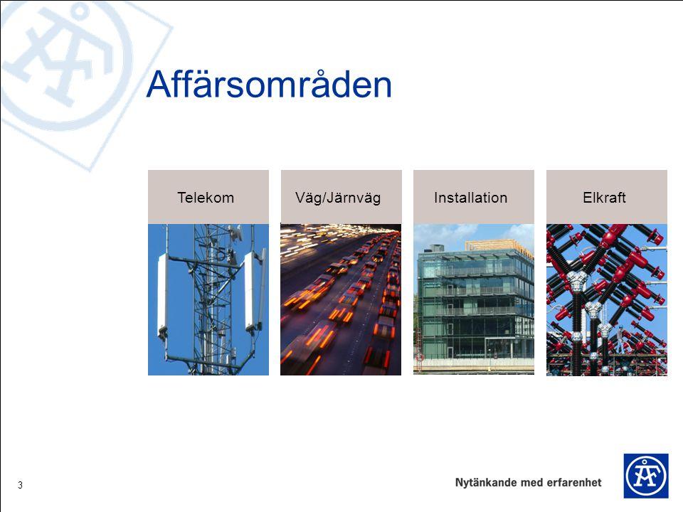 3 Affärsområden TelekomElkraftInstallationVäg/Järnväg