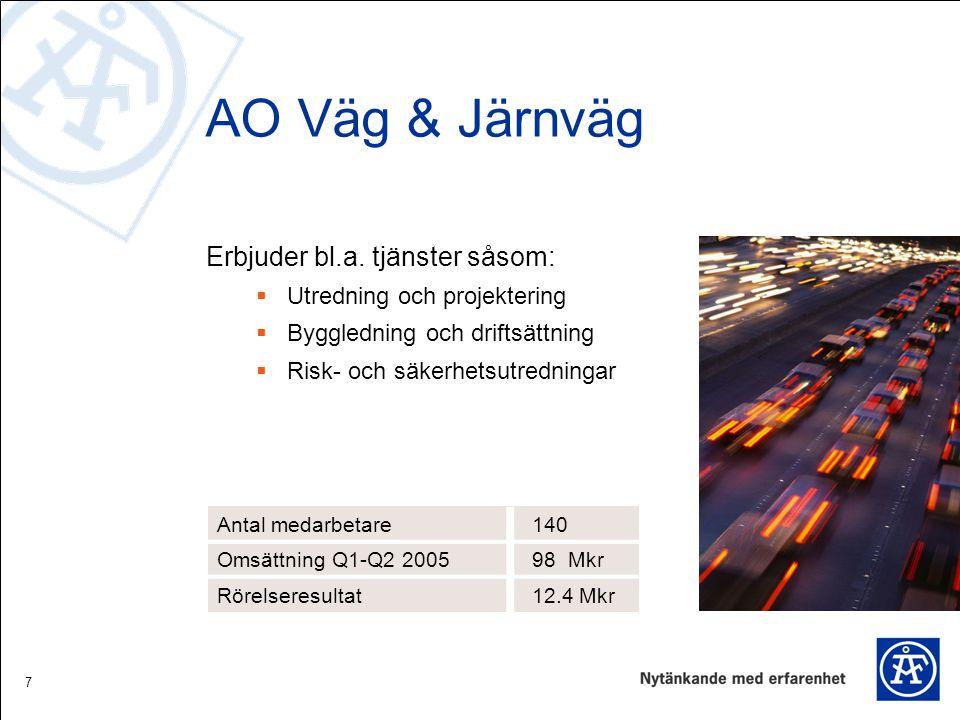 7 AO Väg & Järnväg Erbjuder bl.a. tjänster såsom:  Utredning och projektering  Byggledning och driftsättning  Risk- och säkerhetsutredningar Antal