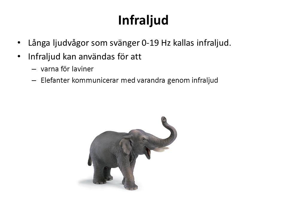 Infraljud Långa ljudvågor som svänger 0-19 Hz kallas infraljud. Infraljud kan användas för att – varna för laviner – Elefanter kommunicerar med varand