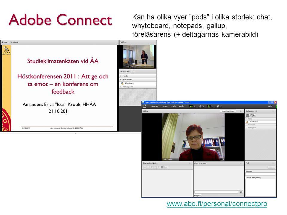 Adobe Connect Kan ha olika vyer pods i olika storlek: chat, whyteboard, notepads, gallup, föreläsarens (+ deltagarnas kamerabild) www.abo.fi/personal/connectpro