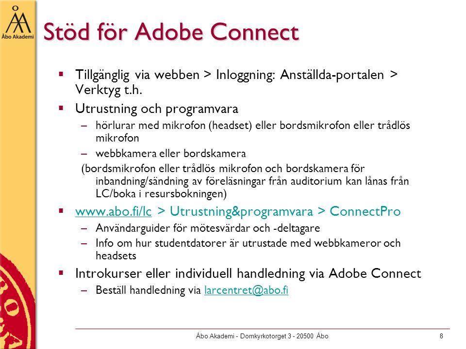 Åbo Akademi - Domkyrkotorget 3 - 20500 Åbo8 Stöd för Adobe Connect  Tillgänglig via webben > Inloggning: Anställda-portalen > Verktyg t.h.