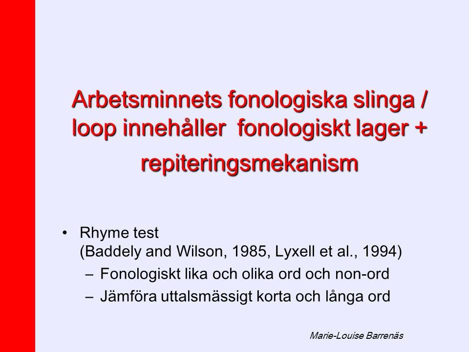 Marie-Louise Barrenäs Arbetsminnetsfonologiska slinga / loop innehåller fonologiskt lager + repiteringsmekanism Arbetsminnets fonologiska slinga / loo