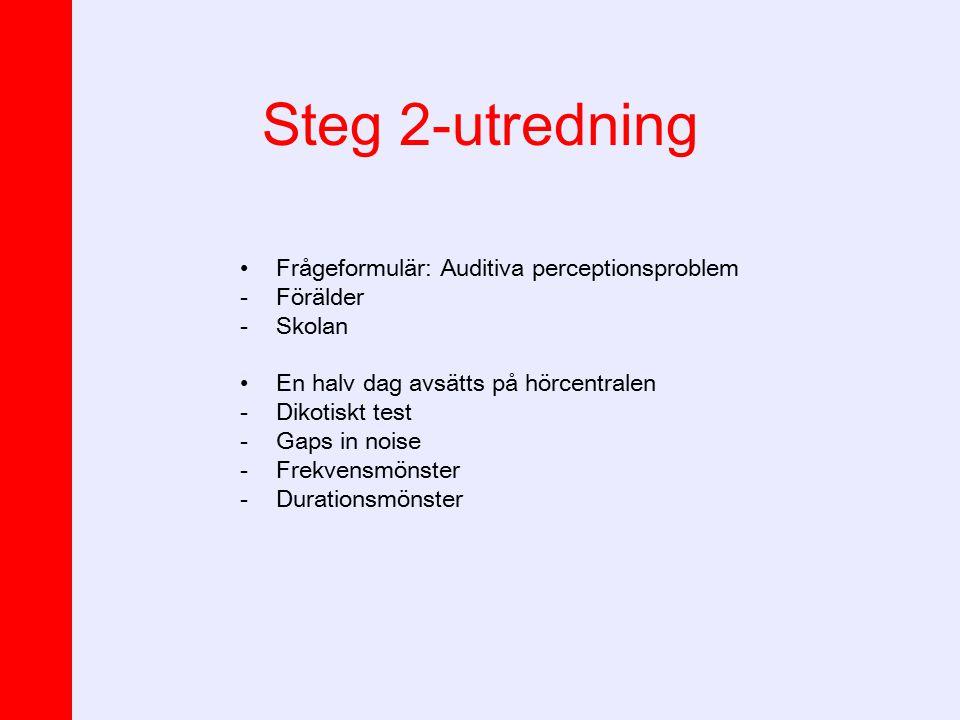 Steg 2-utredning Frågeformulär: Auditiva perceptionsproblem -Förälder -Skolan En halv dag avsätts på hörcentralen -Dikotiskt test -Gaps in noise -Frek