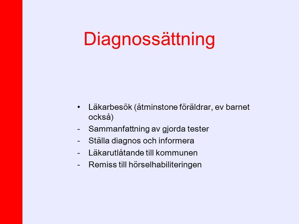 Diagnossättning Läkarbesök (åtminstone föräldrar, ev barnet också) -Sammanfattning av gjorda tester -Ställa diagnos och informera -Läkarutlåtande till