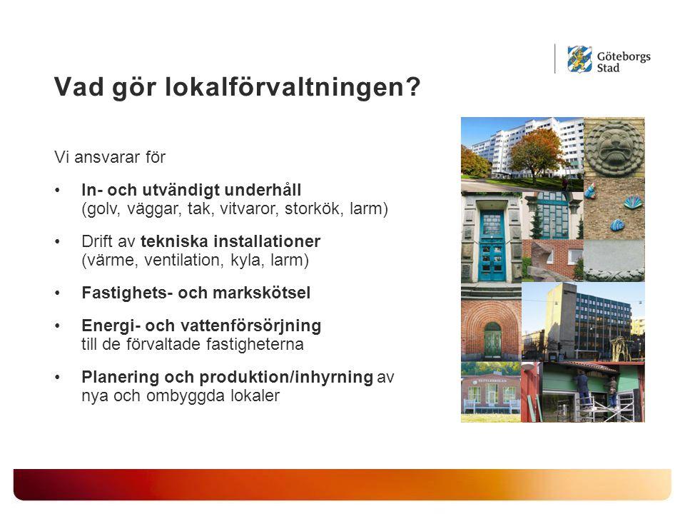 Vad gör lokalförvaltningen? Vi ansvarar för In- och utvändigt underhåll (golv, väggar, tak, vitvaror, storkök, larm) Drift av tekniska installationer