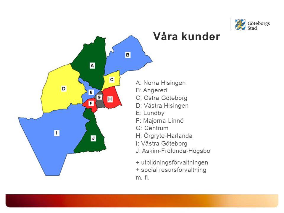 A: Norra Hisingen B: Angered C: Östra Göteborg D: Västra Hisingen E: Lundby F: Majorna-Linné G: Centrum H: Örgryte-Härlanda I: Västra Göteborg J: Askim-Frölunda-Högsbo + utbildningsförvaltningen + social resursförvaltning m.