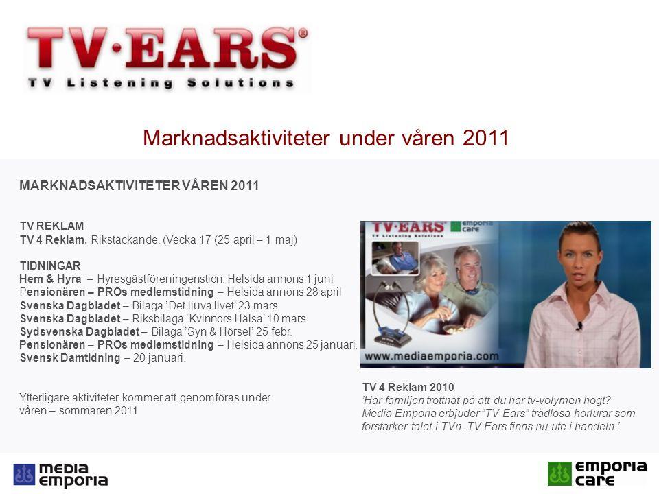 Marknadsaktiviteter under våren 2011 MARKNADSAKTIVITETER VÅREN 2011 TV REKLAM TV 4 Reklam.