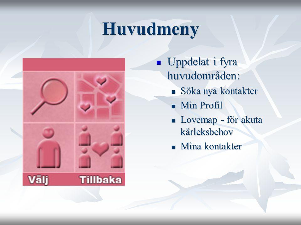 Huvudmeny Uppdelat i fyra huvudområden: Uppdelat i fyra huvudområden: Söka nya kontakter Min Profil Lovemap - för akuta kärleksbehov Mina kontakter