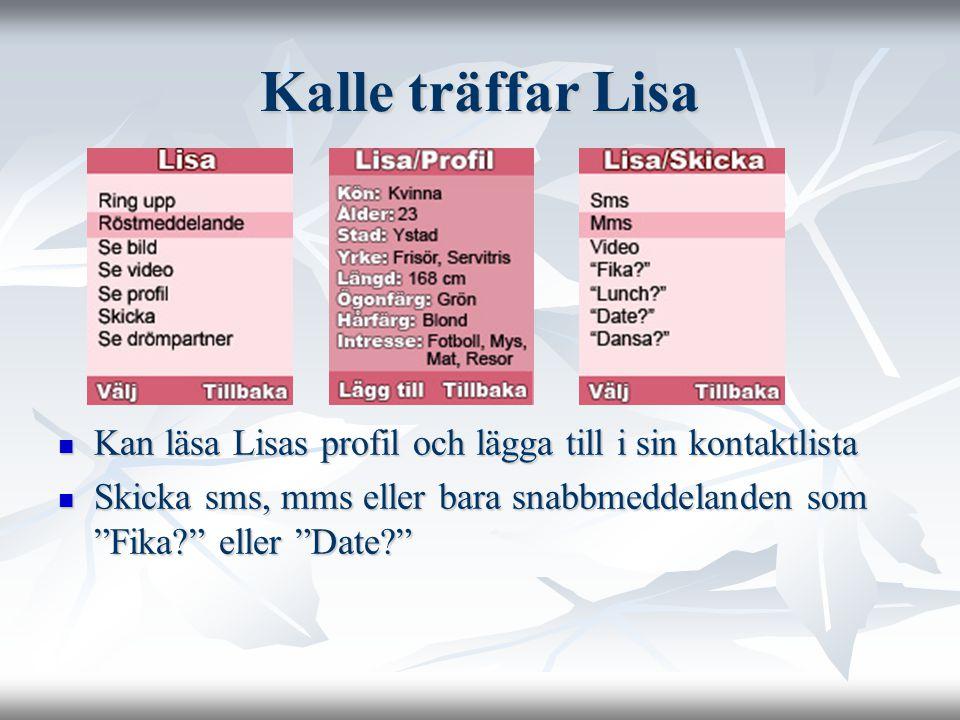 Kalle träffar Lisa Kan läsa Lisas profil och lägga till i sin kontaktlista Kan läsa Lisas profil och lägga till i sin kontaktlista Skicka sms, mms eller bara snabbmeddelanden som Fika? eller Date? Skicka sms, mms eller bara snabbmeddelanden som Fika? eller Date?