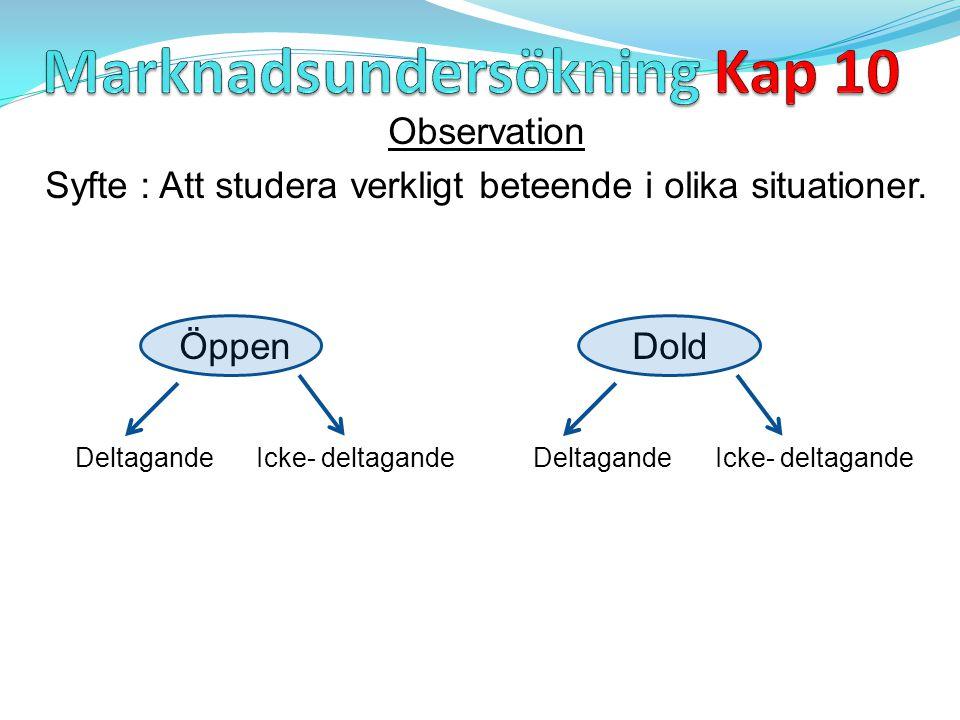 Observation Syfte : Att studera verkligt beteende i olika situationer. Öppen Dold Deltagande Icke- deltagande Deltagande Icke- deltagande