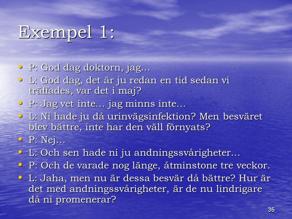 35 Exempel 1: P: God dag doktorn, jag… P: God dag doktorn, jag… L: God dag, det är ju redan en tid sedan vi träffades, var det i maj.