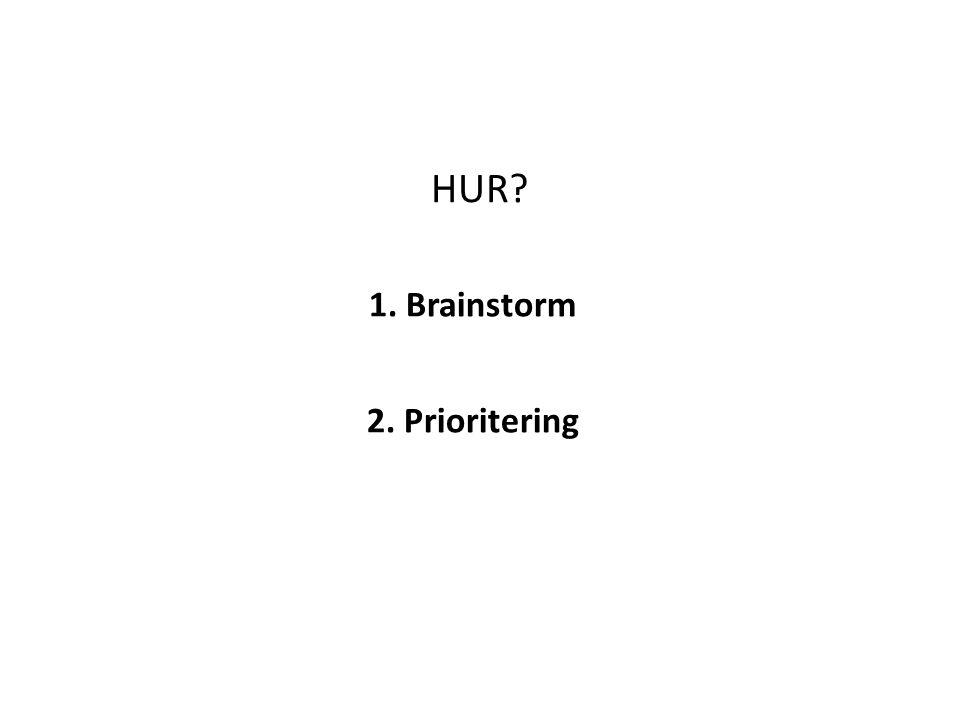 1. Brainstorm 2. Prioritering HUR
