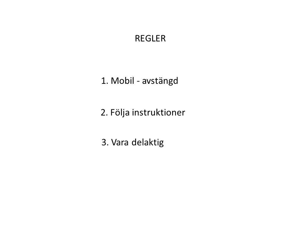 REGLER 1. Mobil - avstängd 2. Följa instruktioner 3. Vara delaktig