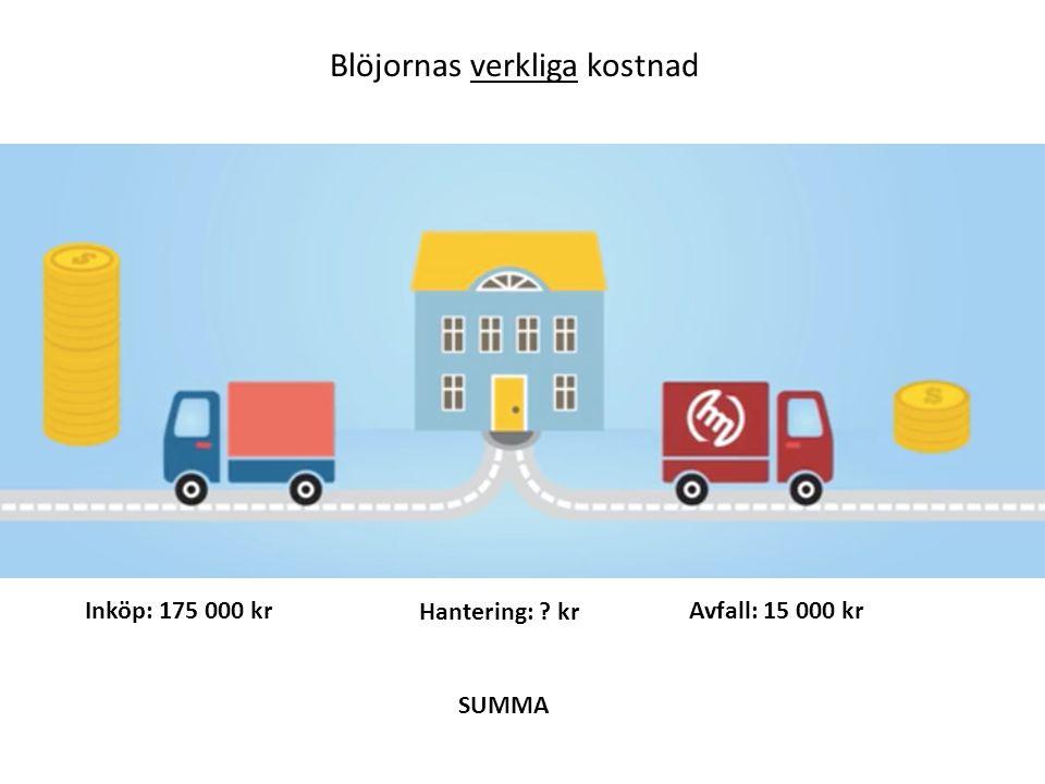 Blöjornas verkliga kostnad Inköp: 175 000 kr Hantering: kr Avfall: 15 000 kr SUMMA