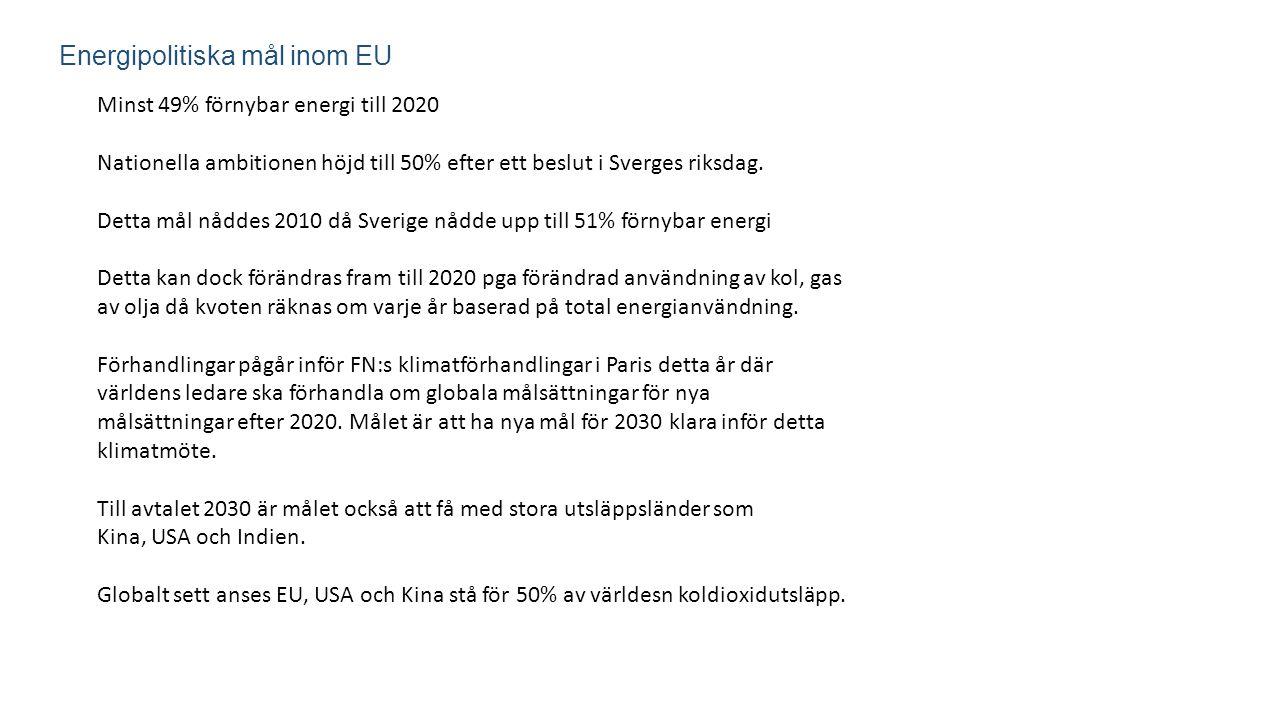 Energipolitiska mål inom EU Minst 49% förnybar energi till 2020 Nationella ambitionen höjd till 50% efter ett beslut i Sverges riksdag. Detta mål nådd