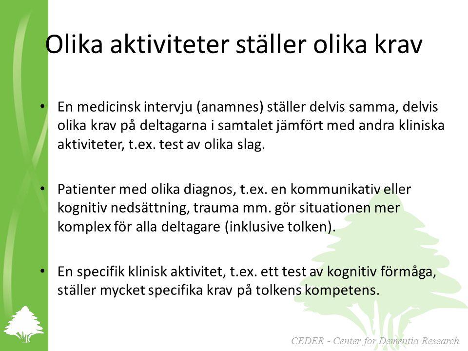 CEDER - Center for Dementia Research Olika aktiviteter ställer olika krav En medicinsk intervju (anamnes) ställer delvis samma, delvis olika krav på deltagarna i samtalet jämfört med andra kliniska aktiviteter, t.ex.