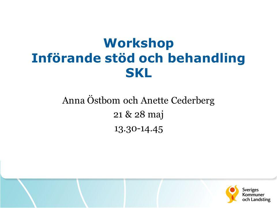 Workshop Införande stöd och behandling SKL Anna Östbom och Anette Cederberg 21 & 28 maj 13.30-14.45