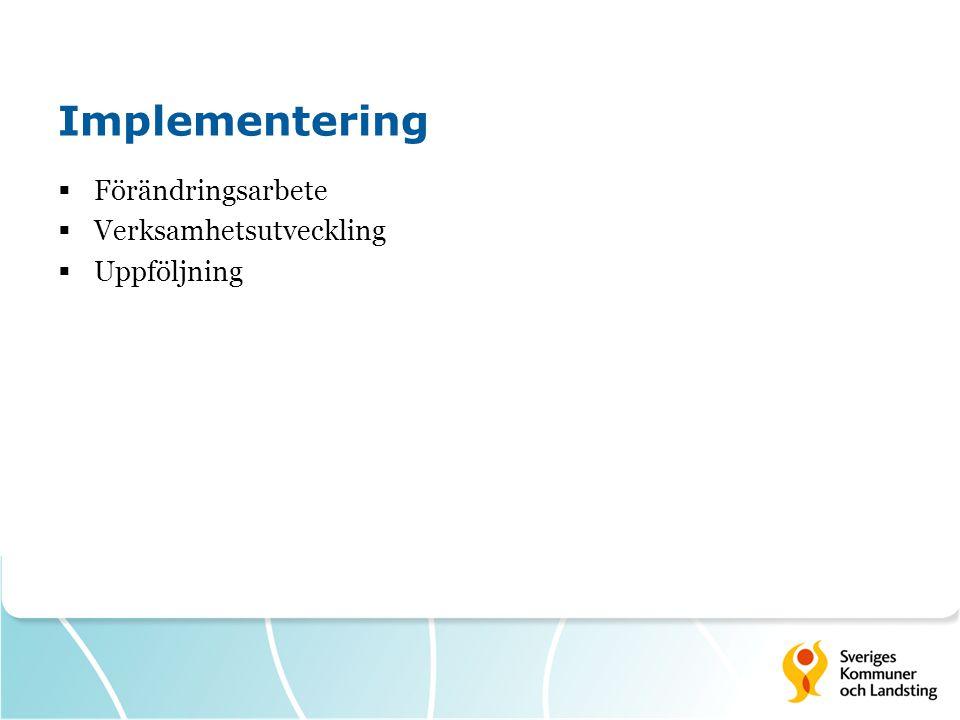 Implementering  Förändringsarbete  Verksamhetsutveckling  Uppföljning