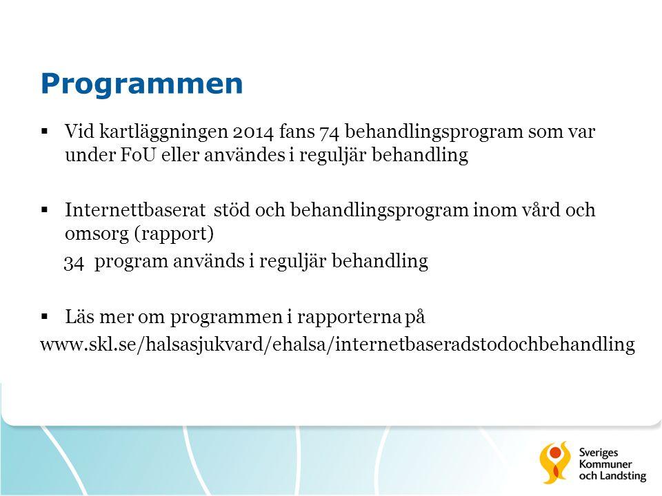 Programmen  Vid kartläggningen 2014 fans 74 behandlingsprogram som var under FoU eller användes i reguljär behandling  Internettbaserat stöd och beh