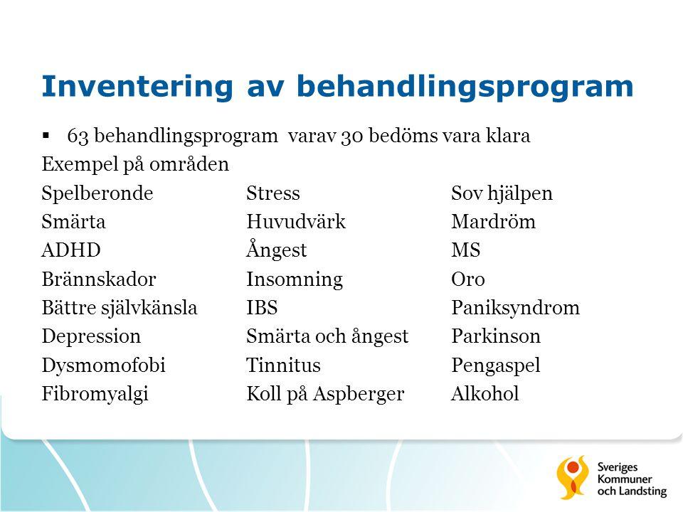 Inventering av behandlingsprogram  63 behandlingsprogram varav 30 bedöms vara klara Exempel på områden SpelberondeStressSov hjälpen SmärtaHuvudvärkMa