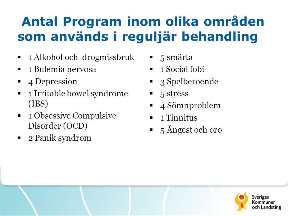 Antal Program inom olika områden som används i reguljär behandling  1 Alkohol och drogmissbruk  1 Bulemia nervosa  4 Depression  1 Irritable bowel