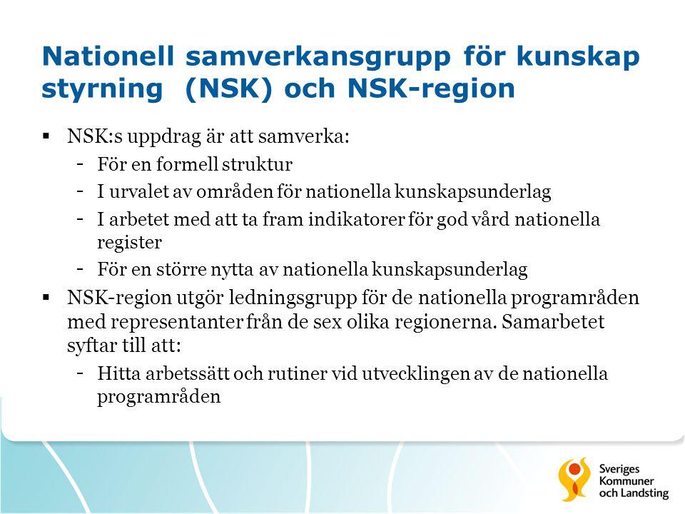 Nationell samverkansgrupp för kunskap styrning (NSK) och NSK-region  NSK:s uppdrag är att samverka: - För en formell struktur - I urvalet av områden