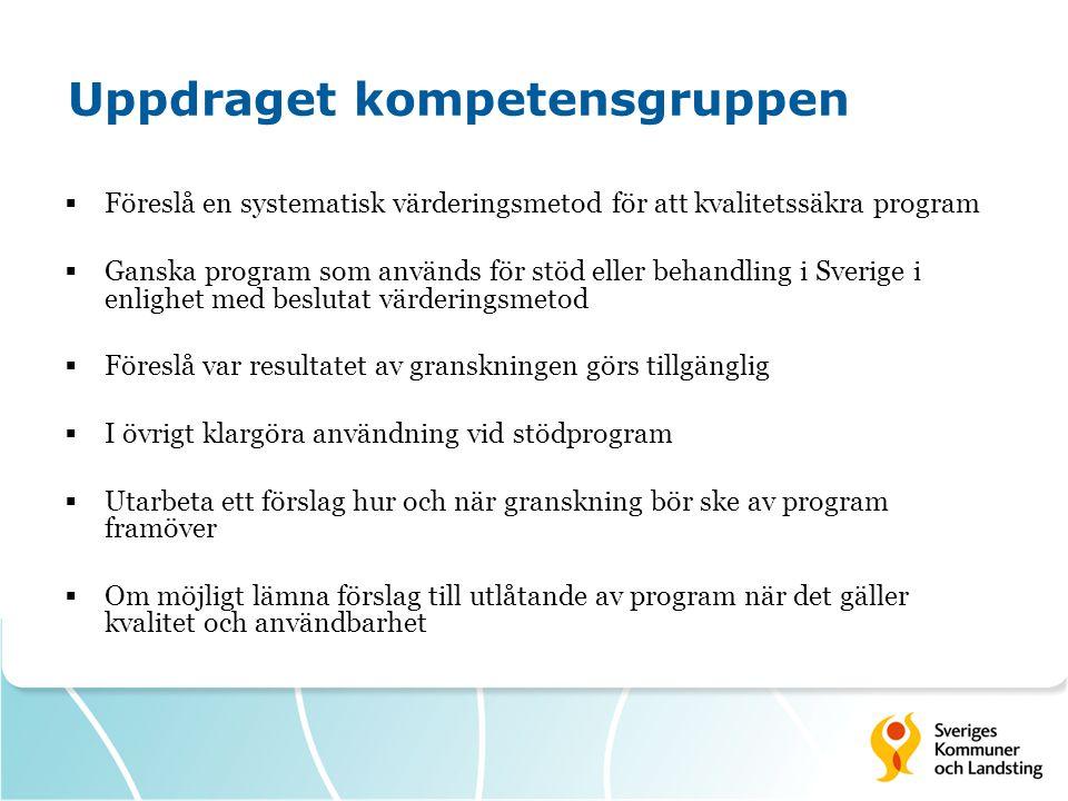 Uppdraget kompetensgruppen  Föreslå en systematisk värderingsmetod för att kvalitetssäkra program  Ganska program som används för stöd eller behandl