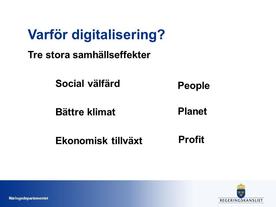 Näringsdepartementet Varför digitalisering? Tre stora samhällseffekter Social välfärd Bättre klimat Ekonomisk tillväxt People Profit Planet
