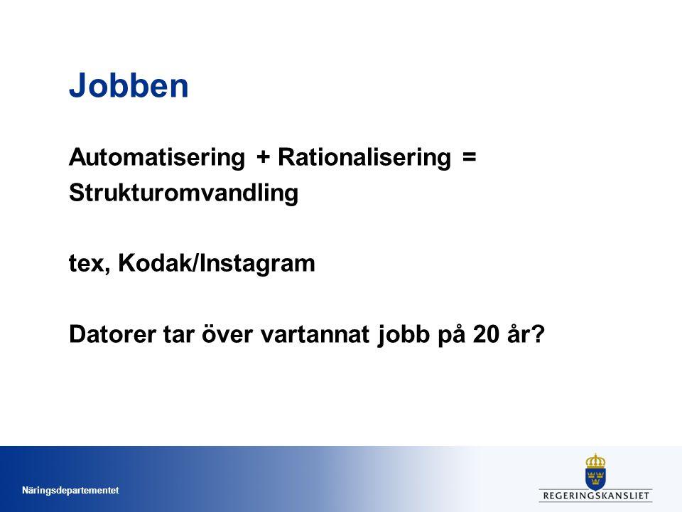 Näringsdepartementet Jobben Automatisering + Rationalisering = Strukturomvandling tex, Kodak/Instagram Datorer tar över vartannat jobb på 20 år?