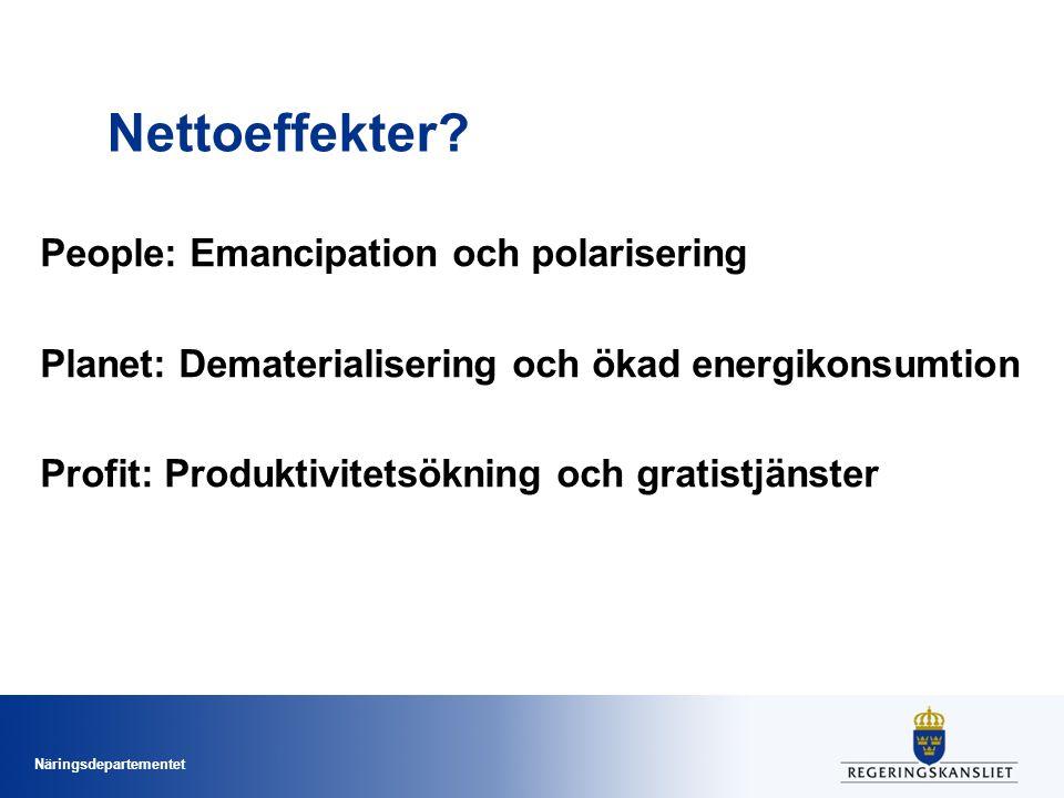 Näringsdepartementet Nettoeffekter? People: Emancipation och polarisering Planet: Dematerialisering och ökad energikonsumtion Profit: Produktivitetsök