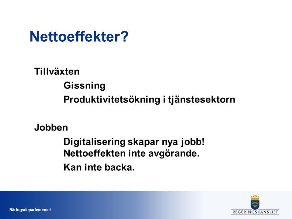 Näringsdepartementet Nettoeffekter? Tillväxten Gissning Produktivitetsökning i tjänstesektorn Jobben Digitalisering skapar nya jobb! Nettoeffekten int