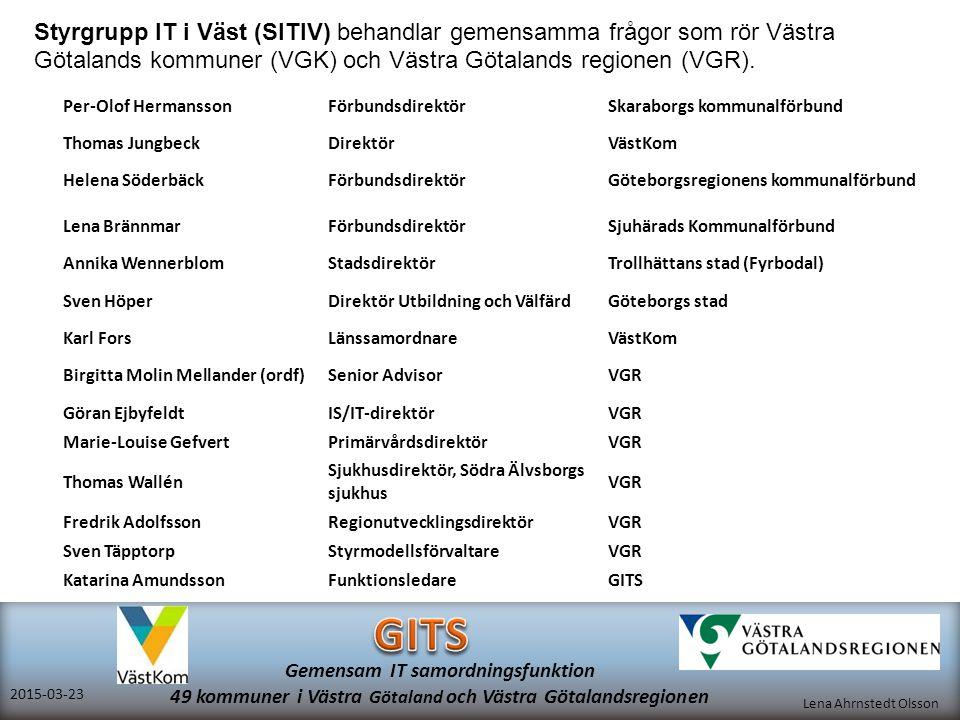 Lena Ahrnstedt Olsson 2015-03-23 Gemensam IT samordningsfunktion 49 kommuner i Västra Götaland och Västra Götalandsregionen Per-Olof HermanssonFörbund