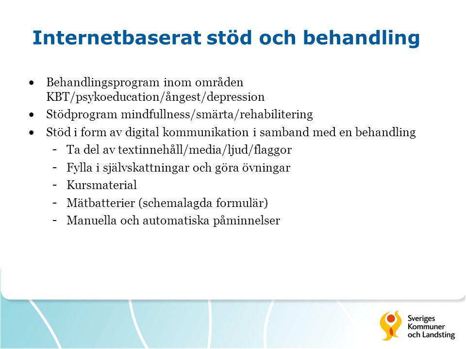 Internetbaserat stöd och behandling  Behandlingsprogram inom områden KBT/psykoeducation/ångest/depression  Stödprogram mindfullness/smärta/rehabilitering  Stöd i form av digital kommunikation i samband med en behandling - Ta del av textinnehåll/media/ljud/flaggor - Fylla i självskattningar och göra övningar - Kursmaterial - Mätbatterier (schemalagda formulär) - Manuella och automatiska påminnelser