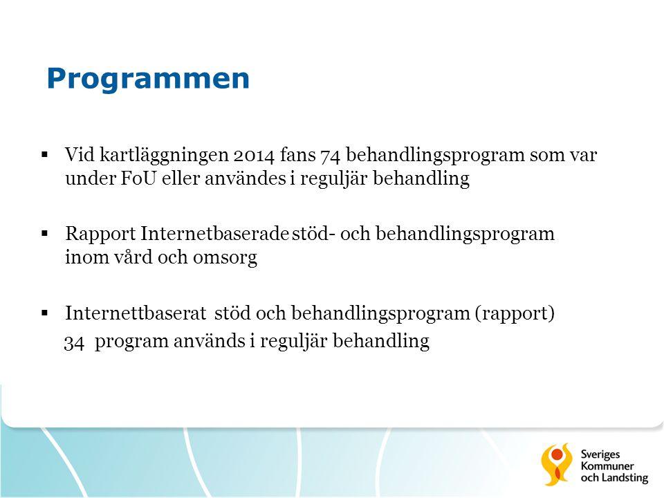  Vid kartläggningen 2014 fans 74 behandlingsprogram som var under FoU eller användes i reguljär behandling  Rapport Internetbaserade stöd- och behandlingsprogram inom vård och omsorg  Internettbaserat stöd och behandlingsprogram (rapport) 34 program används i reguljär behandling Programmen