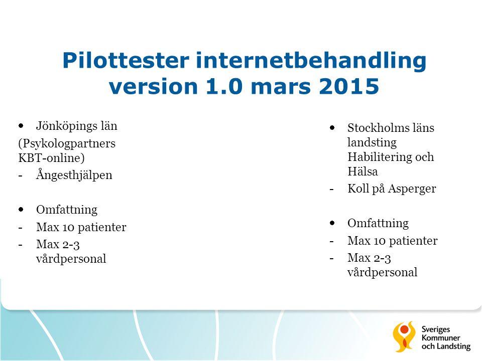 Pilottester internetbehandling version 1.0 mars 2015  Stockholms läns landsting Habilitering och Hälsa -Koll på Asperger  Omfattning -Max 10 patienter -Max 2-3 vårdpersonal  Jönköpings län (Psykologpartners KBT-online) -Ångesthjälpen  Omfattning -Max 10 patienter -Max 2-3 vårdpersonal
