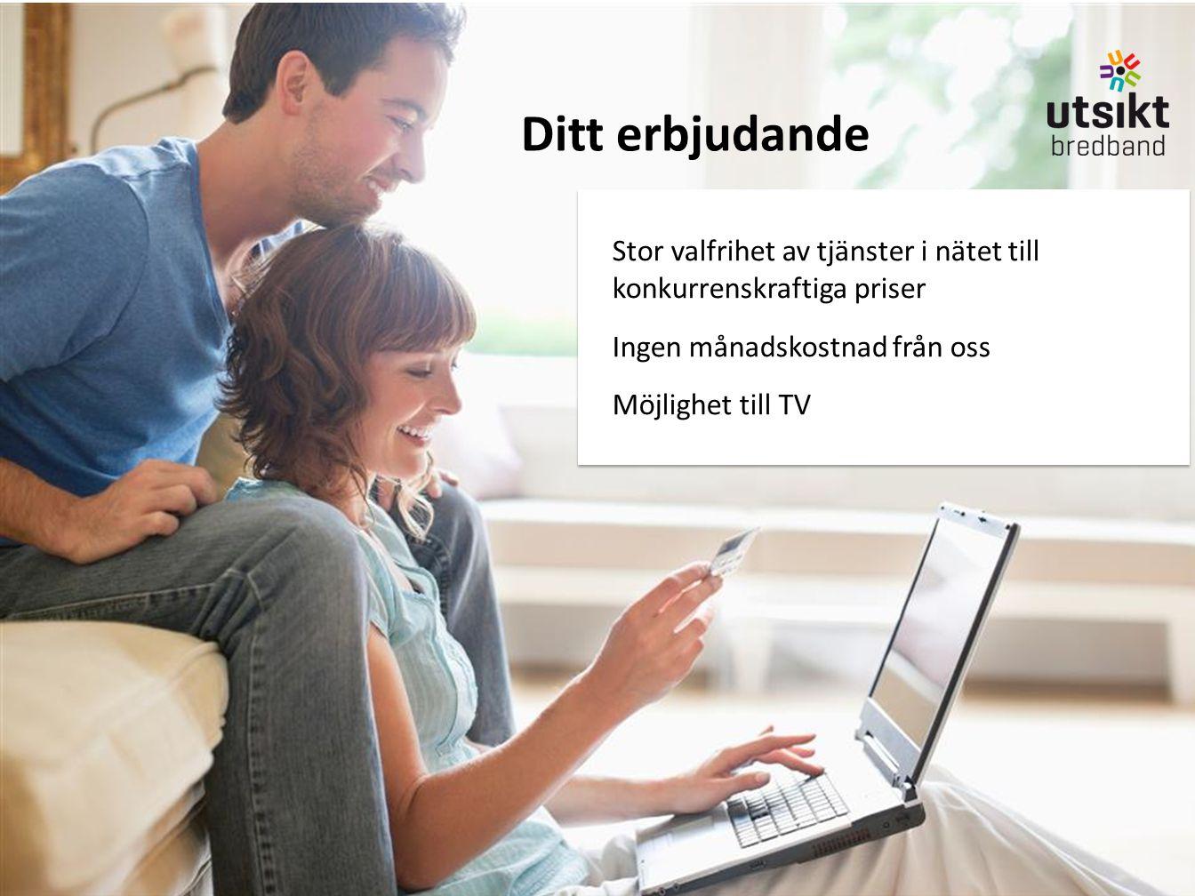 Stor valfrihet av tjänster i nätet till konkurrenskraftiga priser Ingen månadskostnad från oss Möjlighet till TV Stor valfrihet av tjänster i nätet ti